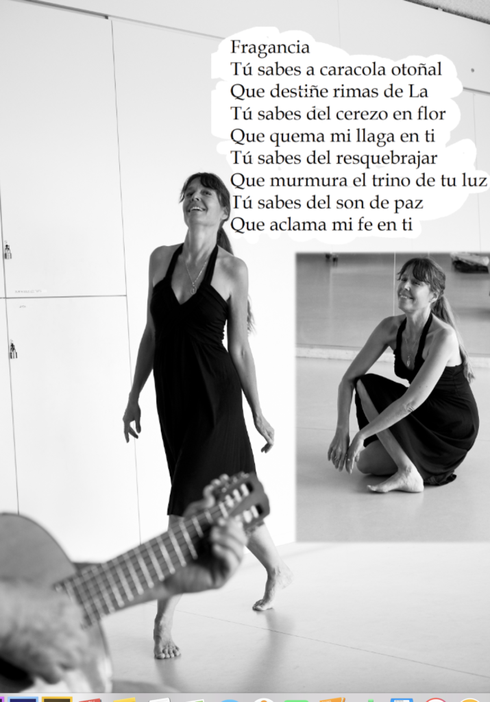 """Bailando recitando un poema """"Fragancia tú sabes a caracola otoñal"""" al ritmo de la guitarra"""